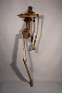standing figure with music box, mixed-media sculpture